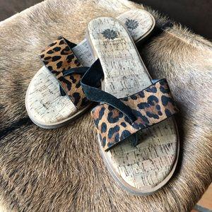 Yellow box leopard sandals